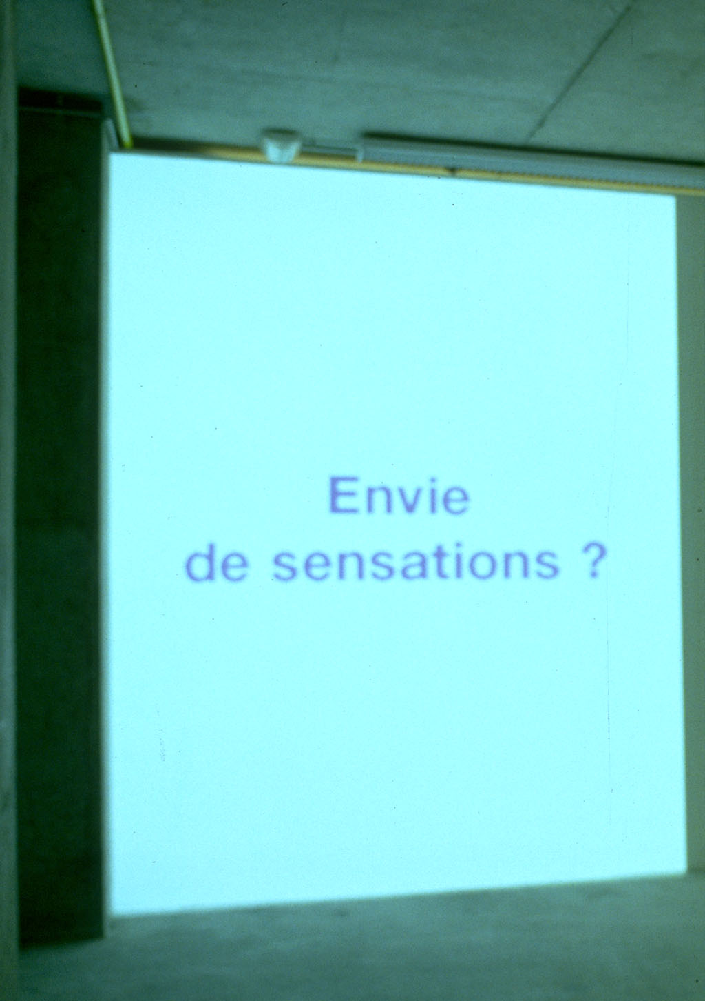 Claude Closky, 'Envie... [wish to...]', 1999, projector, computer, silent, unlimited duration. Exhibition view 'Claude Closky', CCC, Tours. 19 November 1999 - 16 January 2000. Curated by Alain-Julien Laferrière